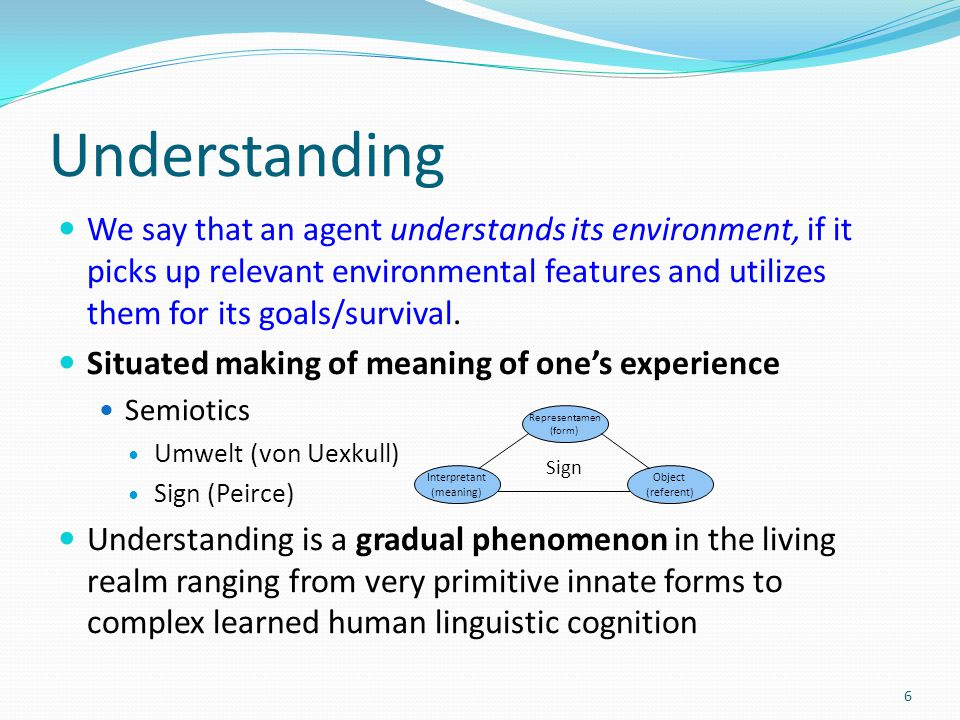 Key features of meaning Sensorimotor coupling with the environment Incremental and continuous construction of meaning in interactions with open and dynamic environment Collective coordination of individually constructed meanings [ Takáč, M.: Construction of Meanings in Living and Artificial Agents.