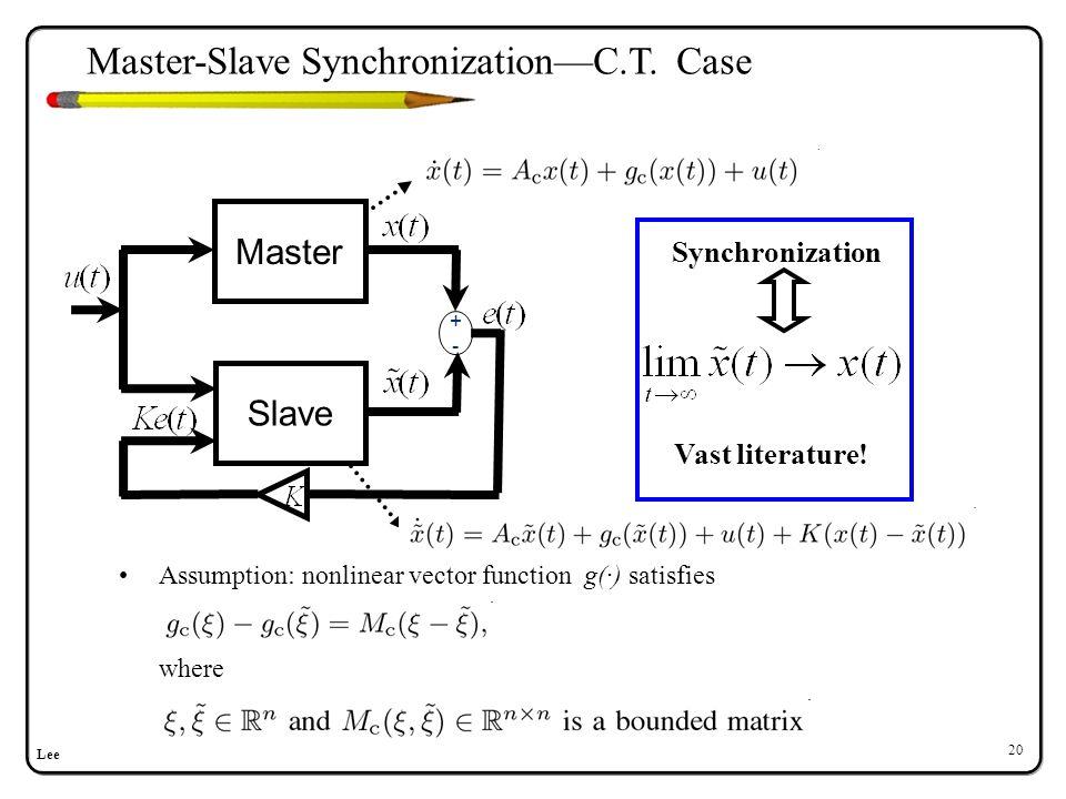 Lee 20 Assumption: nonlinear vector function g(·) satisfies where Master +-+- Slave Vast literature! Synchronization Master-Slave Synchronization—C.T.