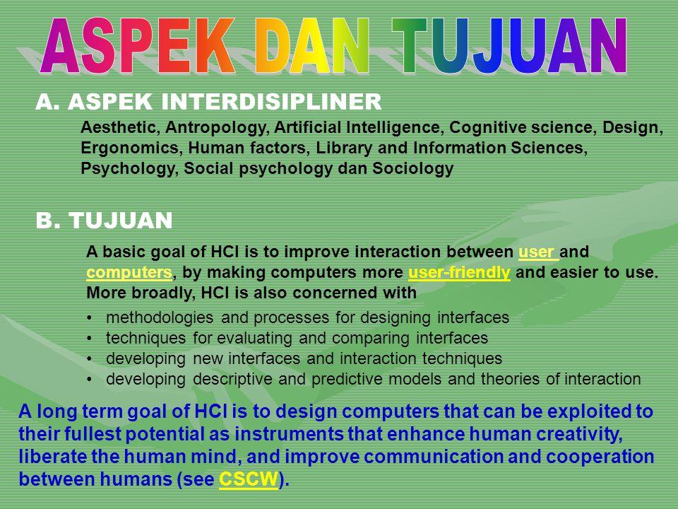 A. ASPEK INTERDISIPLINER Aesthetic, Antropology, Artificial Intelligence, Cognitive science, Design, Ergonomics, Human factors, Library and Informatio