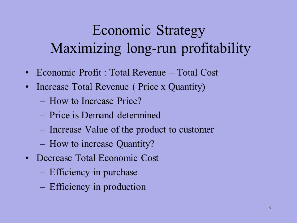 Economic Strategy Maximizing long-run profitability Economic Profit : Total Revenue – Total Cost Increase Total Revenue ( Price x Quantity) –How to Increase Price.