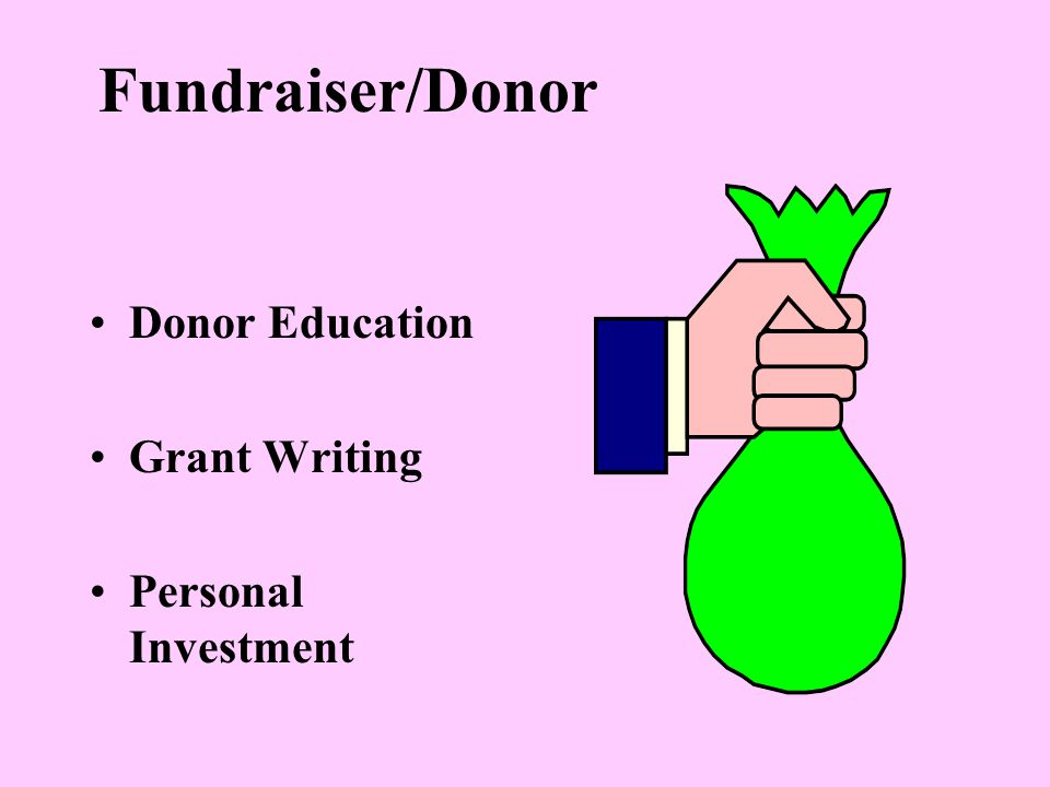 Fundraiser/Donor Donor Education Grant Writing Personal Investment
