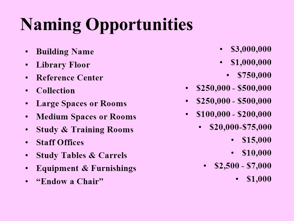 Naming Opportunities Building Name Library Floor Reference Center Collection Large Spaces or Rooms Medium Spaces or Rooms Study & Training Rooms Staff Offices Study Tables & Carrels Equipment & Furnishings Endow a Chair $3,000,000 $1,000,000 $750,000 $250,000 - $500,000 $100,000 - $200,000 $20,000-$75,000 $15,000 $10,000 $2,500 - $7,000 $1,000