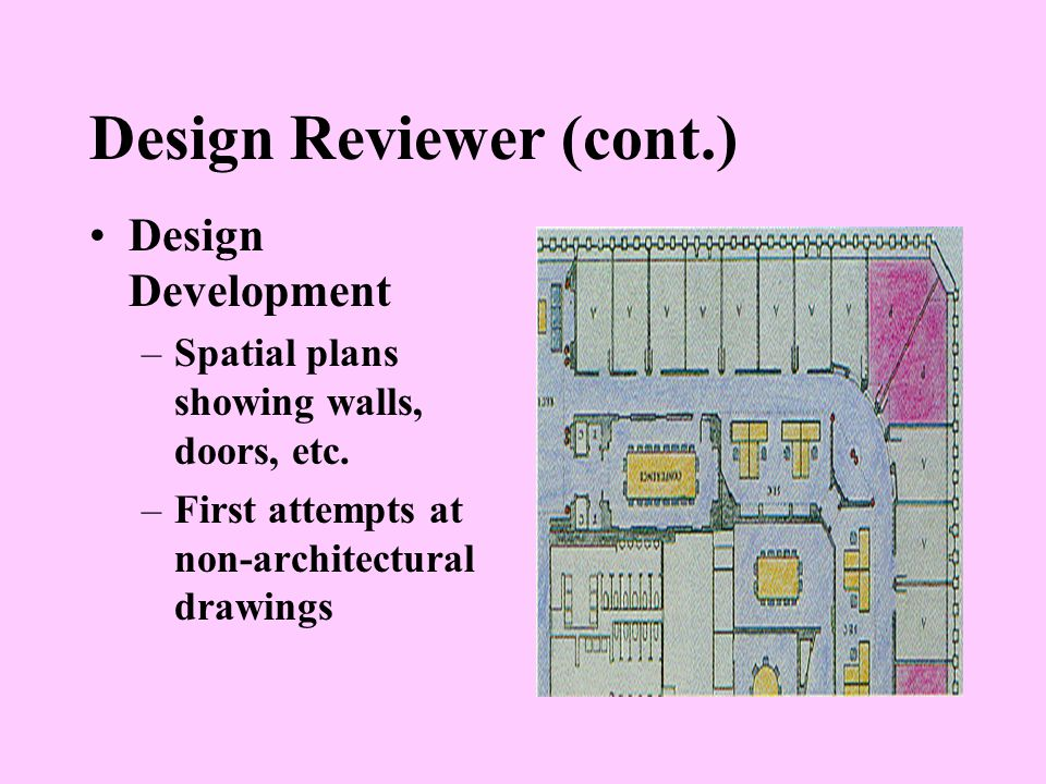 Design Reviewer (cont.) Design Development –Spatial plans showing walls, doors, etc.