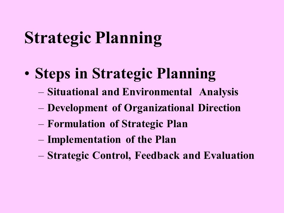 Strategic Planning Steps in Strategic Planning –Situational and Environmental Analysis –Development of Organizational Direction –Formulation of Strategic Plan –Implementation of the Plan –Strategic Control, Feedback and Evaluation