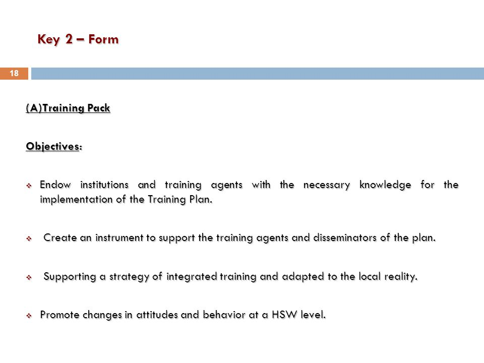 Key 2 – Form (A)Training Pack Objectives:  Endow institutions and training agents with the necessary knowledge for the implementation of the Training Plan.