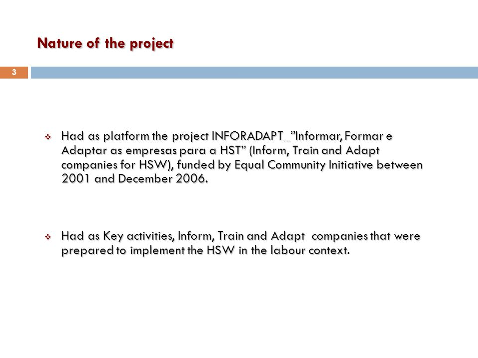 Nature of the project  Had as platform the project INFORADAPT_ Informar, Formar e Adaptar as empresas para a HST (Inform, Train and Adapt companies for HSW), funded by Equal Community Initiative between 2001 and December 2006.