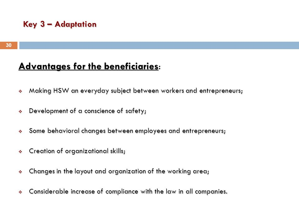 Key 3 – Adaptation Advantages for the beneficiaries Advantages for the beneficiaries:  Making HSW an everyday subject between workers and entrepreneurs;  Development of a conscience of safety;  Some behavioral changes between employees and entrepreneurs;  Creation of organizational skills;  Changes in the layout and organization of the working area;  Considerable increase of compliance with the law in all companies.