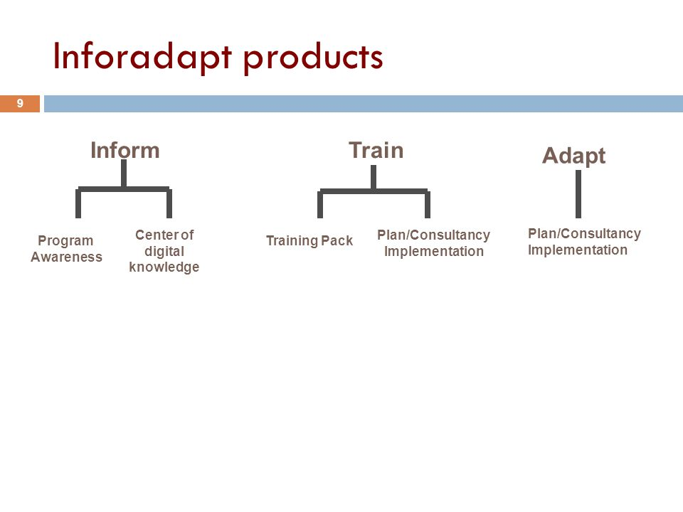 InformTrain Adapt Program Awareness Center of digital knowledge Training Pack Plan/Consultancy Implementation Plan/Consultancy Implementation Inforadapt products 9