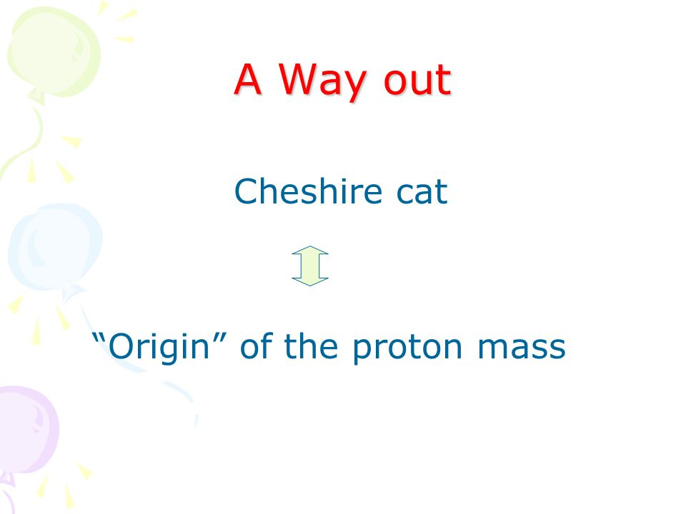 A Way out Cheshire cat Origin of the proton mass