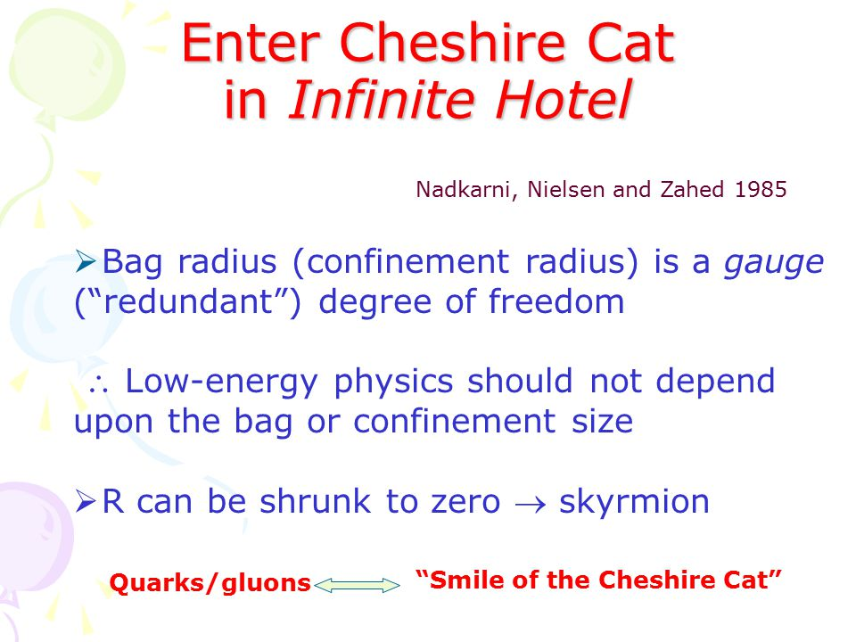 Enter Cheshire Cat in Infinite Hotel Nadkarni, Nielsen and Zahed 1985  Bag radius (confinement radius) is a gauge ( redundant ) degree of freedom  Low-energy physics should not depend upon the bag or confinement size  R can be shrunk to zero  skyrmion Quarks/gluons Smile of the Cheshire Cat