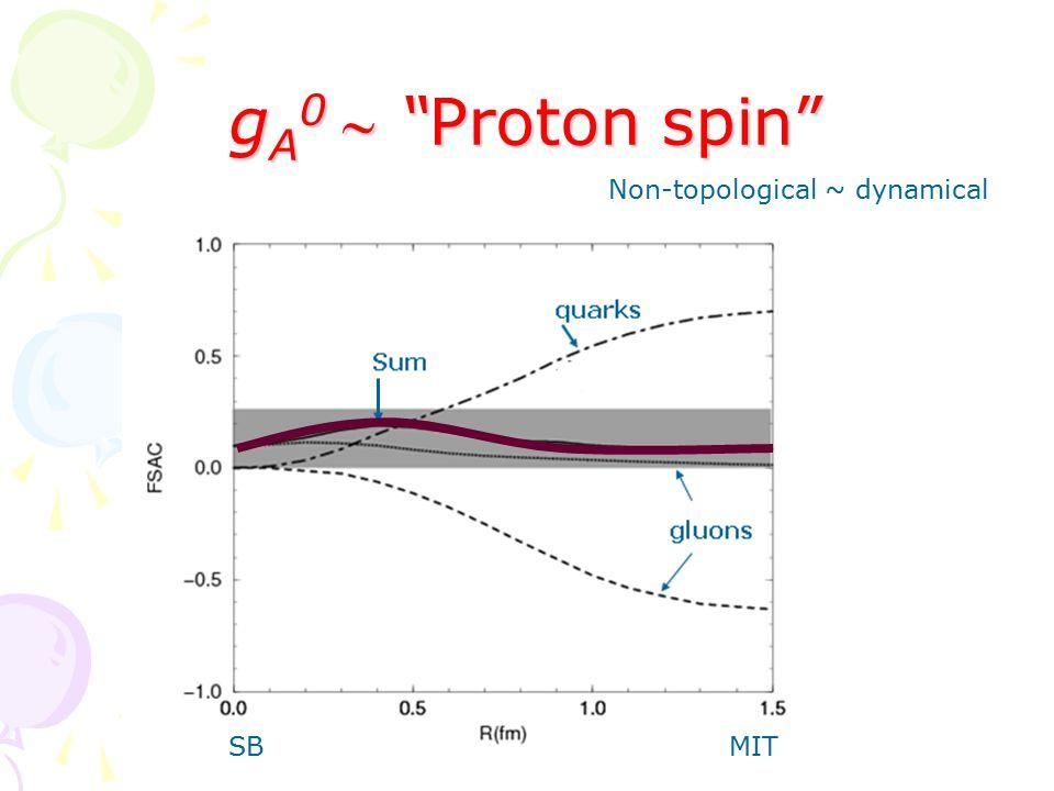 g A 0  Proton spin SBMIT Non-topological ~ dynamical