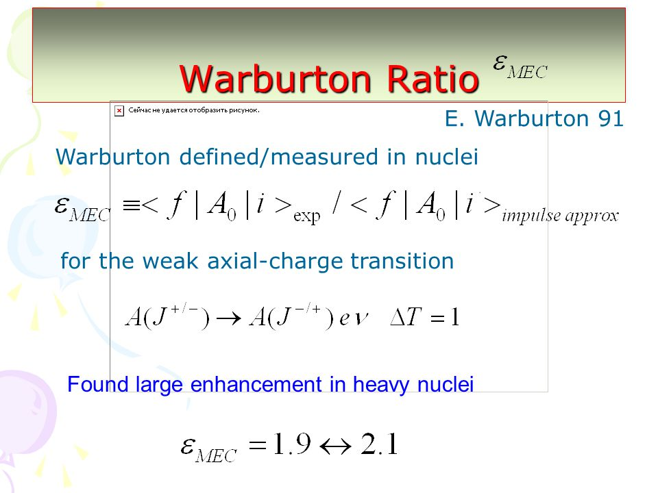 Warburton Ratio Found large enhancement in heavy nuclei E.