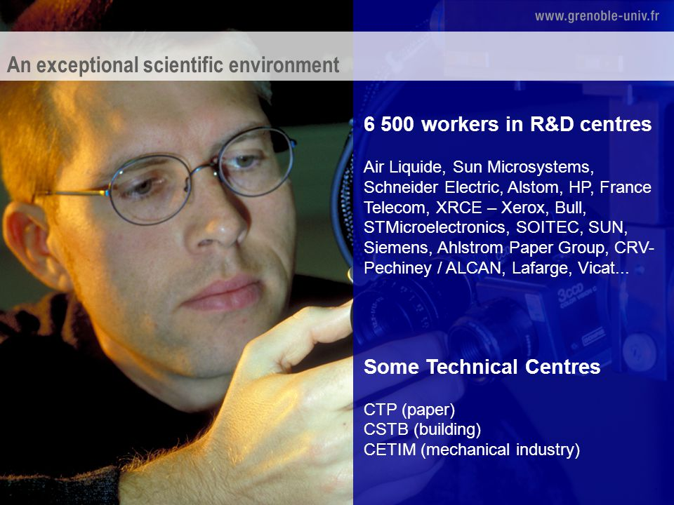 6 500 workers in R&D centres Air Liquide, Sun Microsystems, Schneider Electric, Alstom, HP, France Telecom, XRCE – Xerox, Bull, STMicroelectronics, SOITEC, SUN, Siemens, Ahlstrom Paper Group, CRV- Pechiney / ALCAN, Lafarge, Vicat...