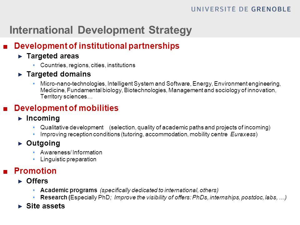 International Development Strategy ■Development of institutional partnerships ► Targeted areas Countries, regions, cities, institutions ► Targeted dom