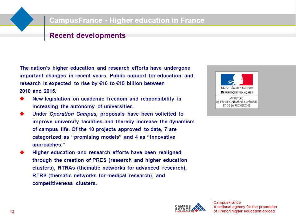 CampusFrance A national agency for the promotion of French higher education abroad Recent developments The nation's higher education and research effo