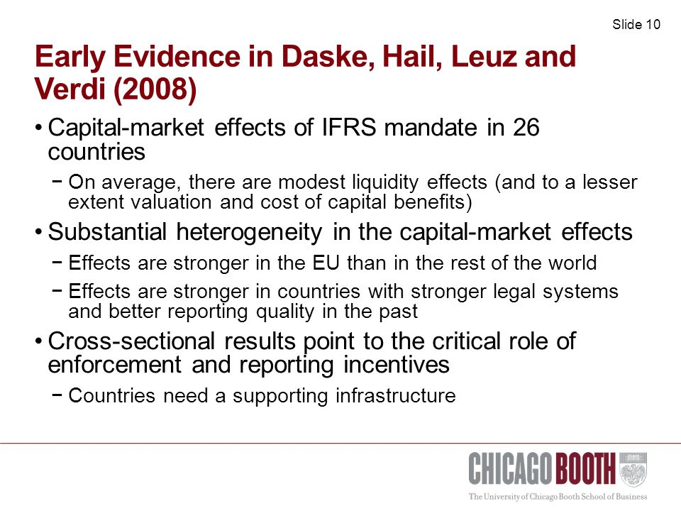 Slide 11 Capital-market effects of EU securities regulation: Christensen, Hail & Leuz (2010) Market Abuse Directive (MAD) −Directive against market manipulation and insider trading to ensure investor confidence Transparency Directive (TPD) −Directive to ensure appropriate transparency for investors −Disclosure of accurate and timely information There are prior rules banning insider trading and mandating financial disclosure −MAD and TPD aim at improving implementation and enforcement of securities regulation −Mandate changes to the supervisory structure and public enforcement Directive applies to all member states and it is the same for all countries −There could be differences in the transposition into national law (e.g., penalities) −Supervision and enforcement is local Exploit differences in the implementation and enforcement across countries