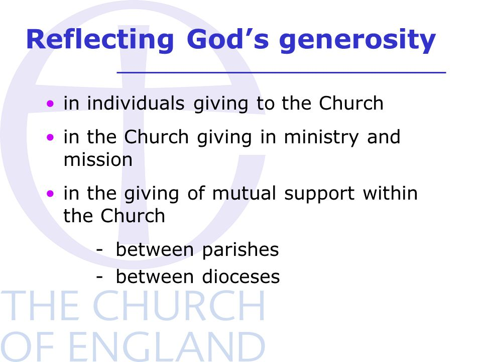 in individuals giving to the Church in the Church giving in ministry and mission in the giving of mutual support within the Church -between parishes -