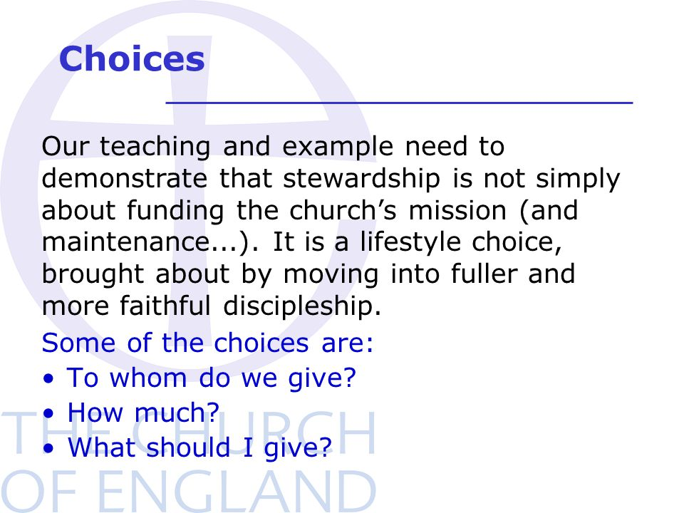 Choices Some of the choices are: To whom do we give.