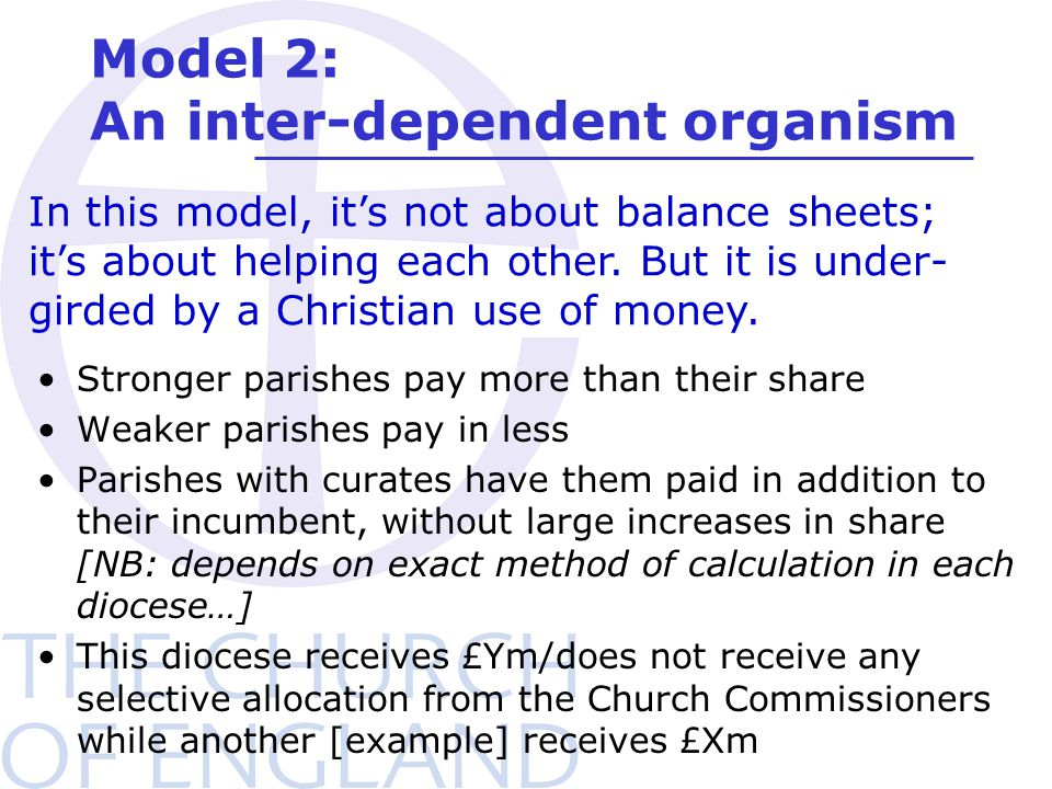 Model 2: An inter-dependent organism Stronger parishes pay more than their share Weaker parishes pay in less Parishes with curates have them paid in addition to their incumbent, without large increases in share [NB: depends on exact method of calculation in each diocese…] This diocese receives £Ym/does not receive any selective allocation from the Church Commissioners while another [example] receives £Xm In this model, it's not about balance sheets; it's about helping each other.