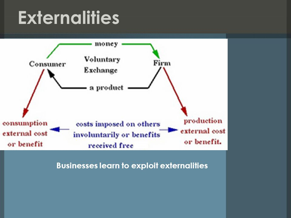 Externalities Businesses learn to exploit externalities