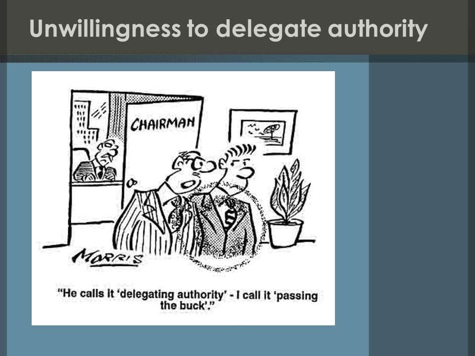 Unwillingness to delegate authority