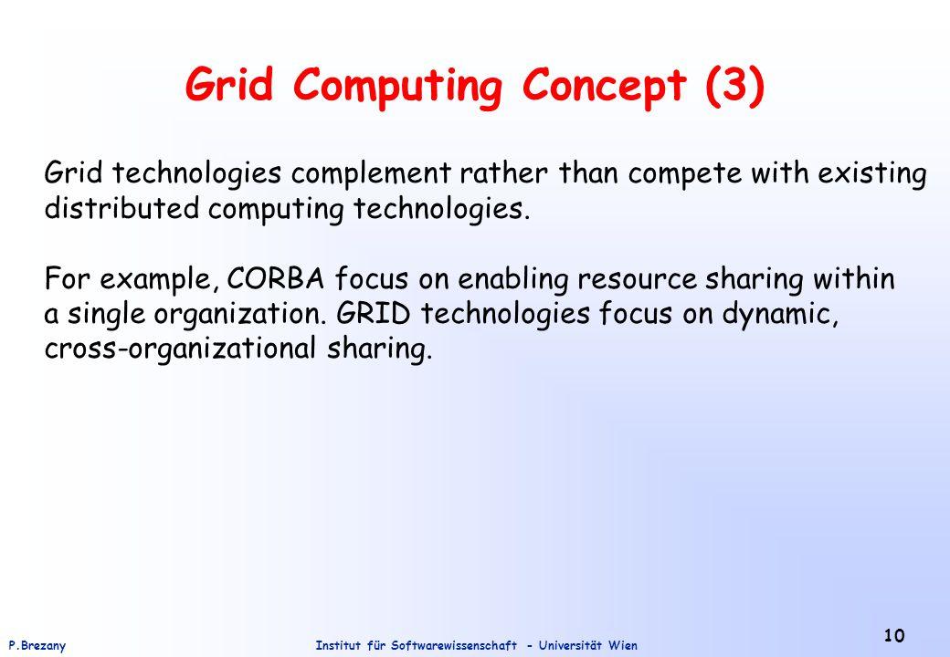 Institut für Softwarewissenschaft - Universität WienP.Brezany 10 Grid Computing Concept (3) Grid technologies complement rather than compete with existing distributed computing technologies.