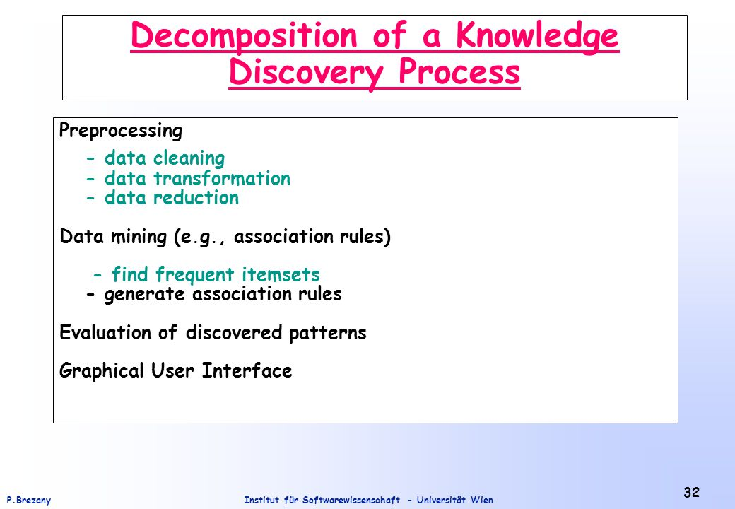 Institut für Softwarewissenschaft - Universität WienP.Brezany 32 Decomposition of a Knowledge Discovery Process Preprocessing - data cleaning - data transformation - data reduction Data mining (e.g., association rules) - find frequent itemsets - generate association rules Evaluation of discovered patterns Graphical User Interface