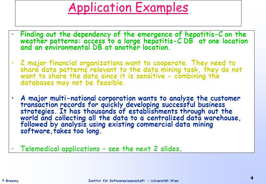 Institut für Softwarewissenschaft - Universität WienP.Brezany 5 Components of Telemedical Applications Web Raw Medical Data Reconstructed Medical Data Derived Medical DataDatabase