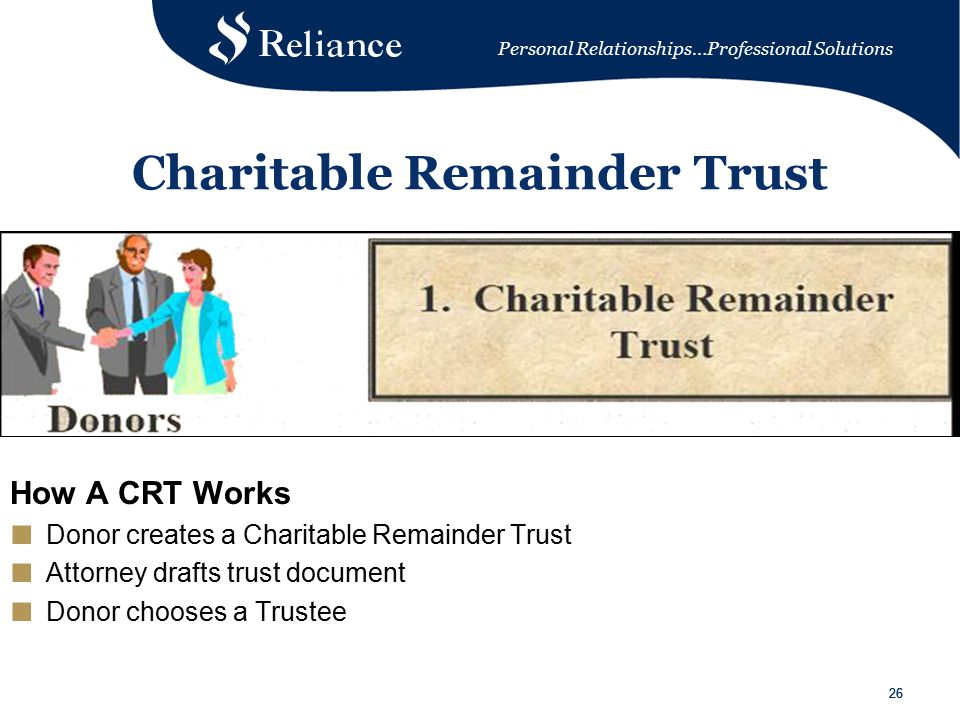 Personal Relationships…Professional Solutions 26 Charitable Remainder Trust How A CRT Works ■ Donor creates a Charitable Remainder Trust ■ Attorney drafts trust document ■ Donor chooses a Trustee