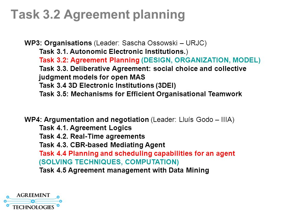 Task 3.2 Agreement planning WP3: Organisations (Leader: Sascha Ossowski – URJC) Task 3.1.