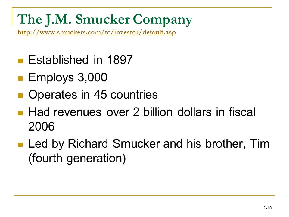 2-10 The J.M. Smucker Company http://www.smuckers.com/fc/investor/default.asp http://www.smuckers.com/fc/investor/default.asp Established in 1897 Empl