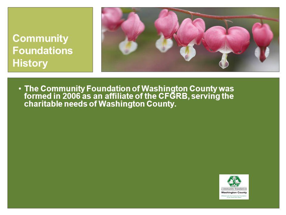 The Community Foundation of Washington County was formed in 2006 as an affiliate of the CFGRB, serving the charitable needs of Washington County.