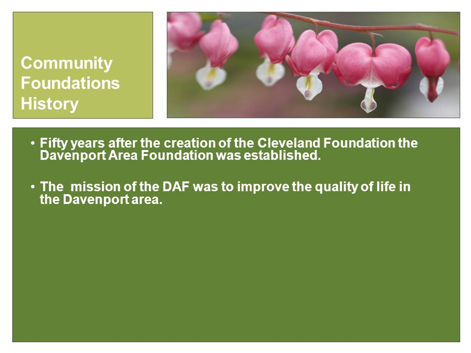 Fifty years after the creation of the Cleveland Foundation the Davenport Area Foundation was established.