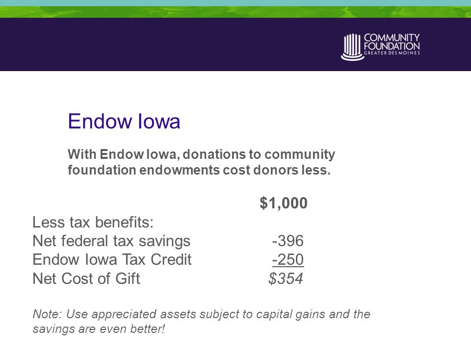 Endow Iowa With Endow Iowa, donations to community foundation endowments cost donors less.
