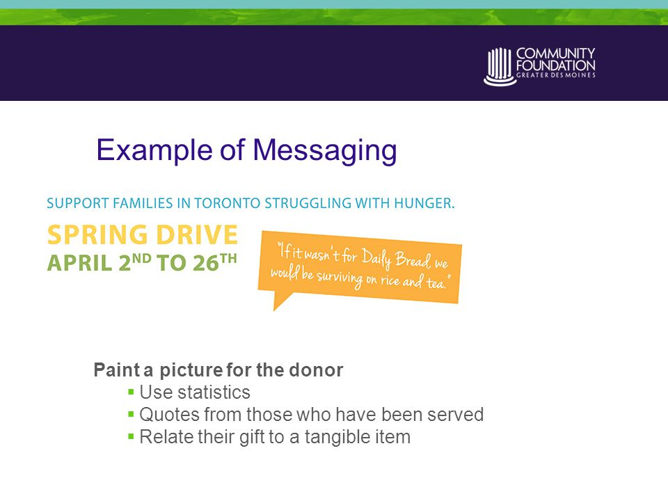 Example of Messaging Paint a picture for the donor  Use statistics  Quotes from those who have been served  Relate their gift to a tangible item