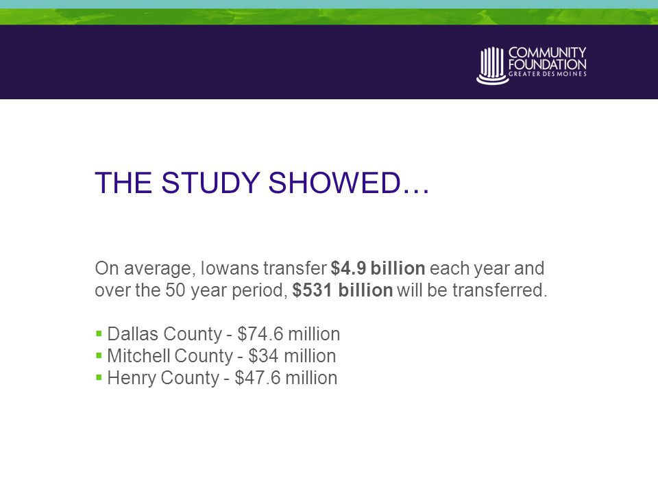 THE STUDY SHOWED… On average, Iowans transfer $4.9 billion each year and over the 50 year period, $531 billion will be transferred.