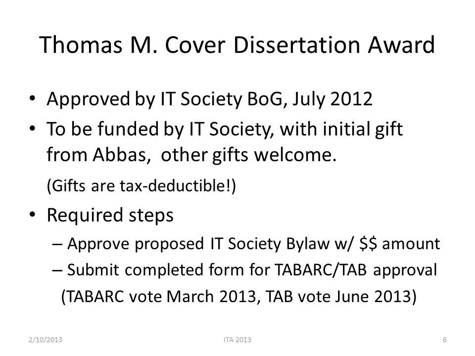 Proposed Bylaw Thomas M.Cover Dissertation Award The Thomas M.