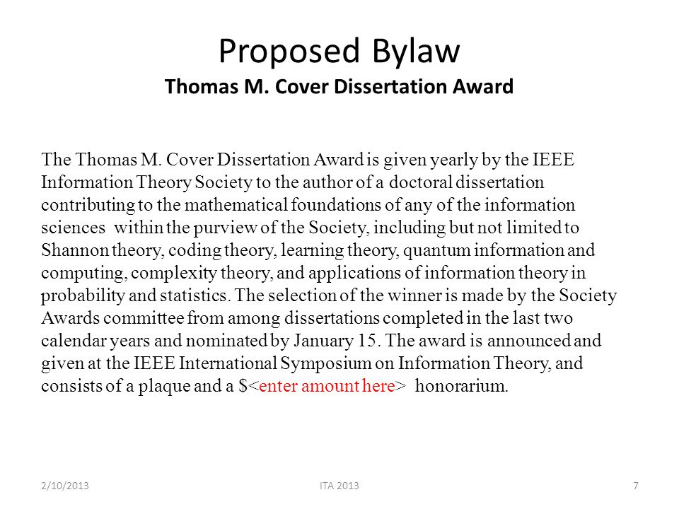 Proposed BoG Resolution The Board of Governors adopts the bylaw drafted by the ad-hoc committee on the Thomas M.