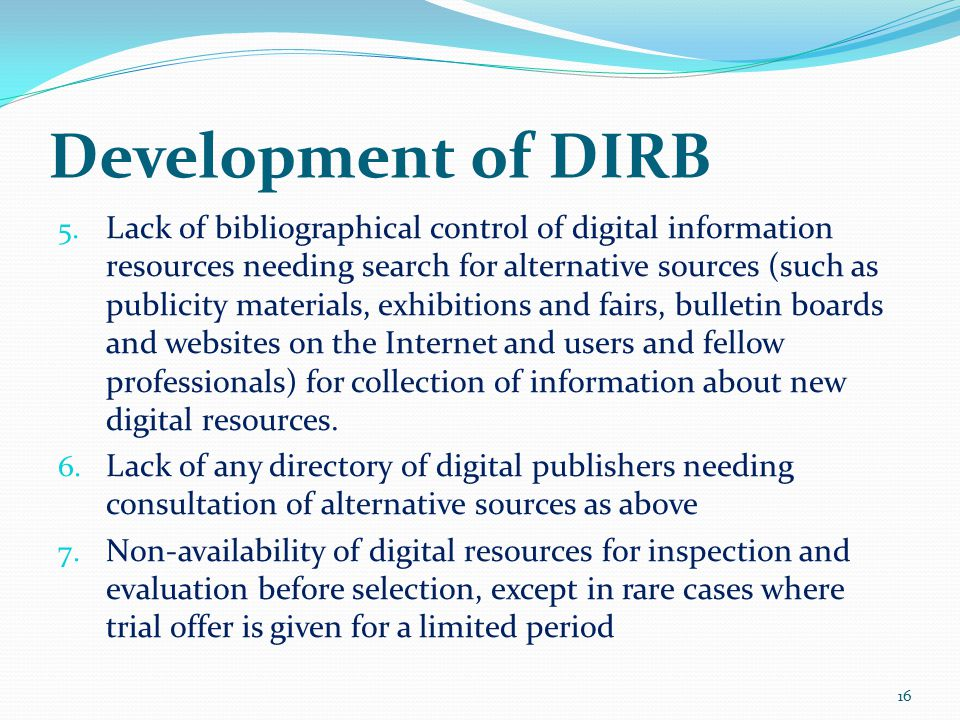 Development of DIRB 5.