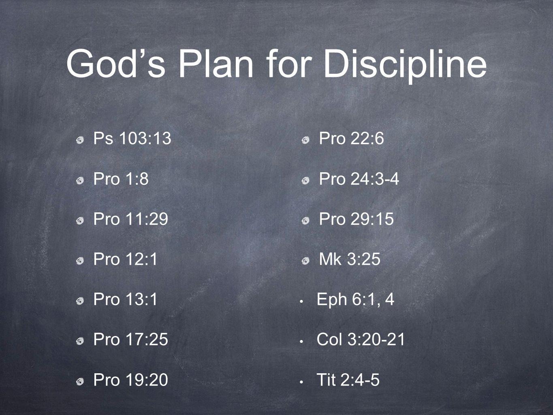 God's Plan for Discipline Ps 103:13 Pro 1:8 Pro 11:29 Pro 12:1 Pro 13:1 Pro 17:25 Pro 19:20 Pro 22:6 Pro 24:3-4 Pro 29:15 Mk 3:25 Eph 6:1, 4 Col 3:20-21 Tit 2:4-5