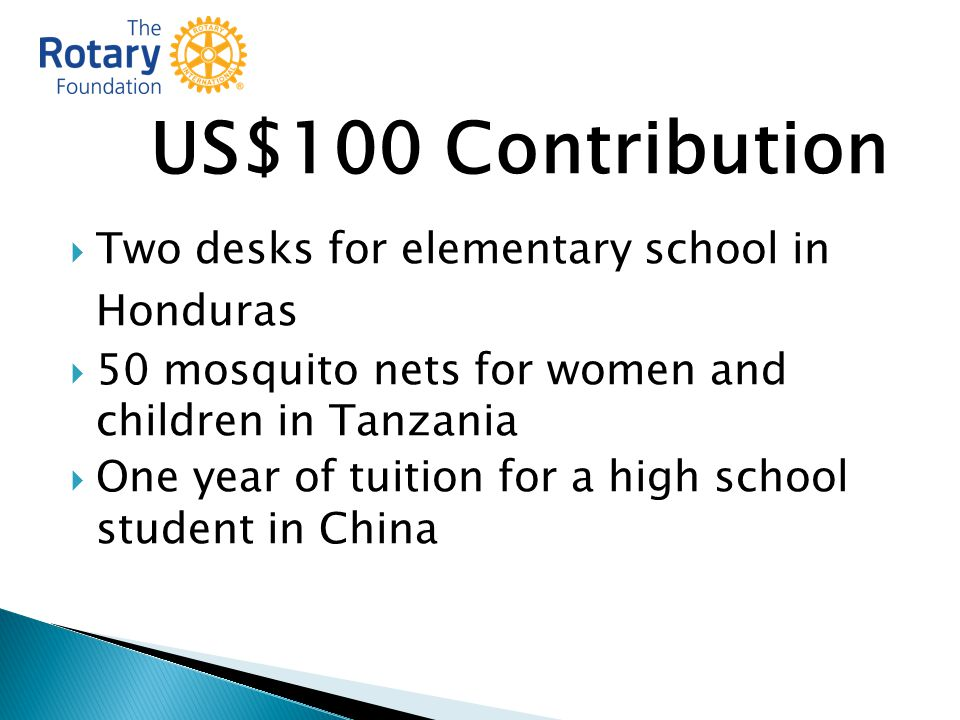 US$100 Contribution  Two desks for elementary school in Honduras  50 mosquito nets for women and children in Tanzania  One year of tuition for a high school student in China