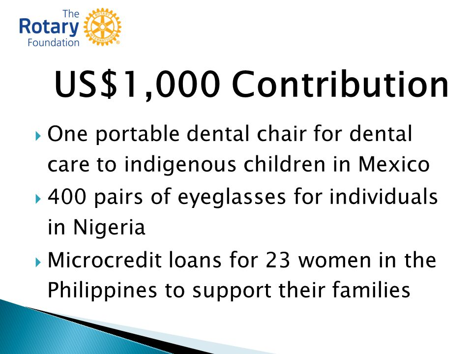 US$1,000 Contribution  One portable dental chair for dental care to indigenous children in Mexico  400 pairs of eyeglasses for individuals in Nigeria  Microcredit loans for 23 women in the Philippines to support their families
