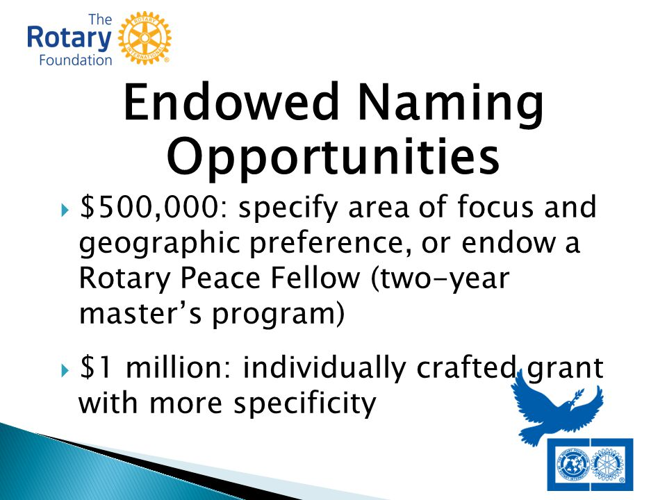 Endowed Naming Opportunities  $500,000: specify area of focus and geographic preference, or endow a Rotary Peace Fellow (two-year master's program)  $1 million: individually crafted grant with more specificity