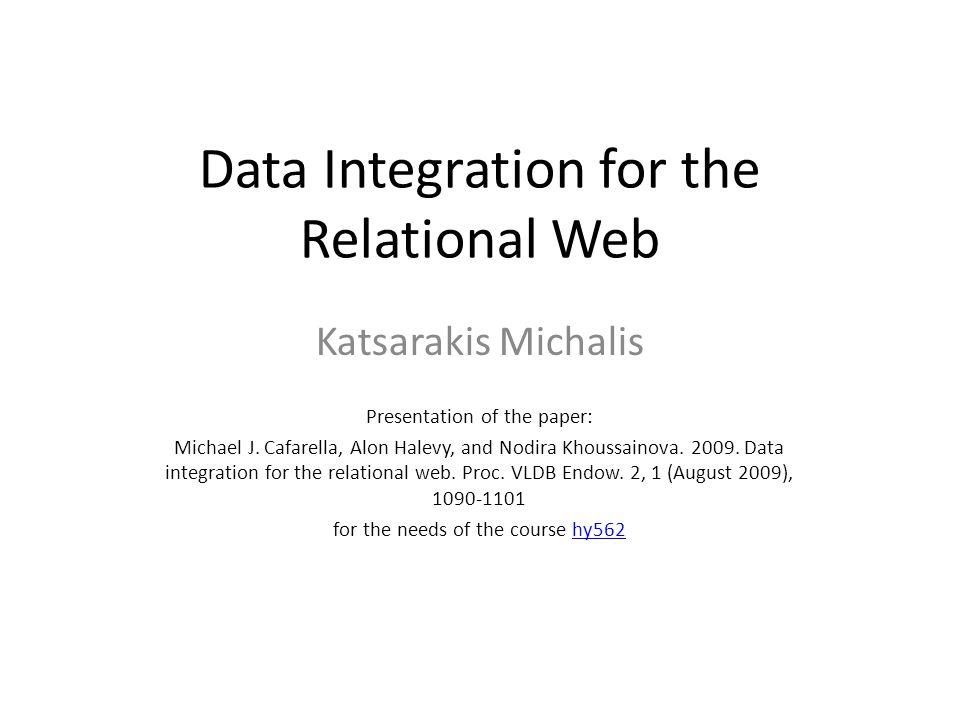 Data Integration for the Relational Web Katsarakis Michalis Presentation of the paper: Michael J.