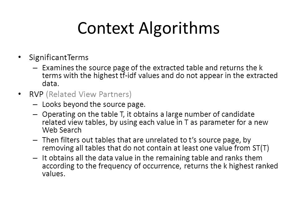 Context Algorithms SignificantTerms – Examines the source page of the extracted table and returns the k terms with the highest tf-idf values and do not appear in the extracted data.