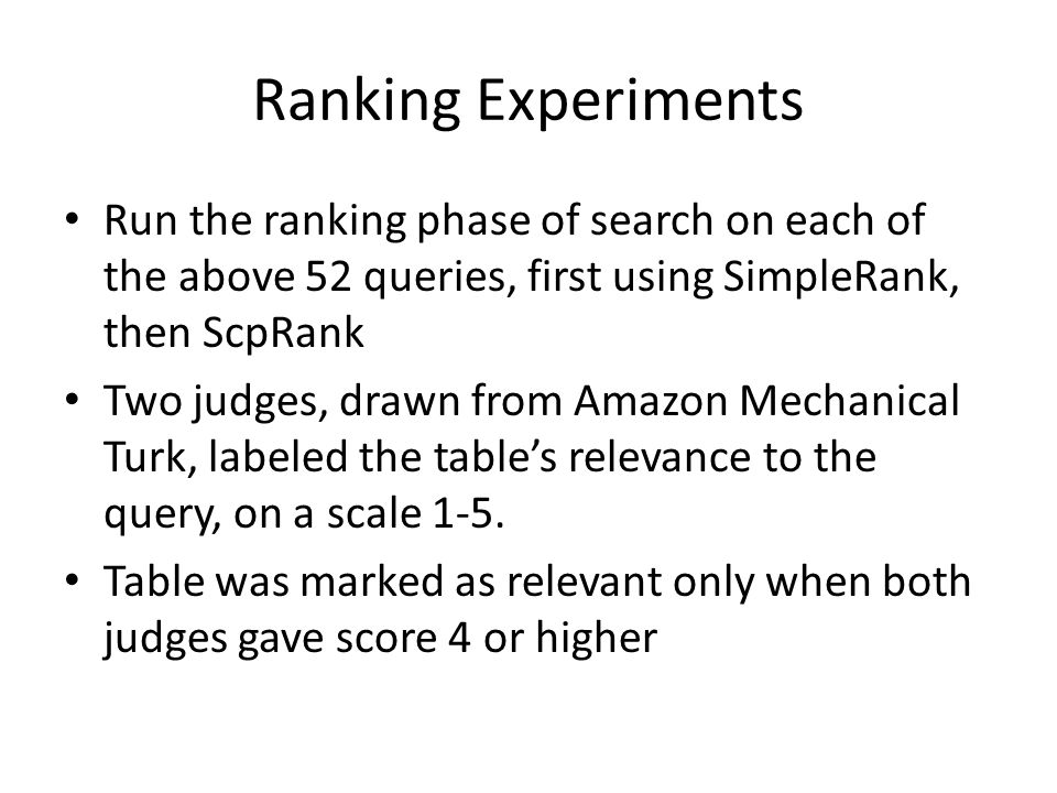 Ranking Experiments Run the ranking phase of search on each of the above 52 queries, first using SimpleRank, then ScpRank Two judges, drawn from Amazon Mechanical Turk, labeled the table's relevance to the query, on a scale 1-5.
