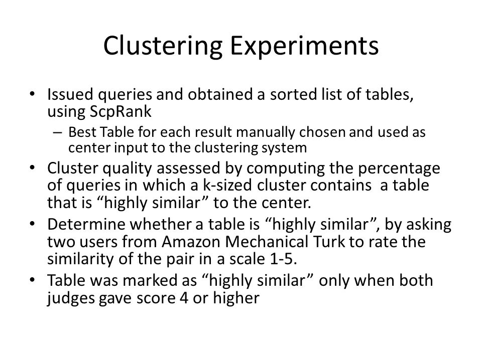 Clustering Experiments Issued queries and obtained a sorted list of tables, using ScpRank – Best Table for each result manually chosen and used as center input to the clustering system Cluster quality assessed by computing the percentage of queries in which a k-sized cluster contains a table that is highly similar to the center.