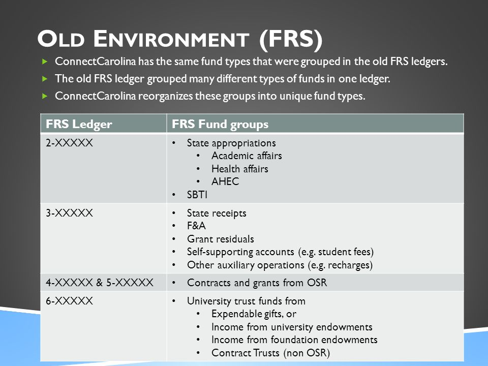 O LD E NVIRONMENT (FRS)  ConnectCarolina has the same fund types that were grouped in the old FRS ledgers.  The old FRS ledger grouped many differen