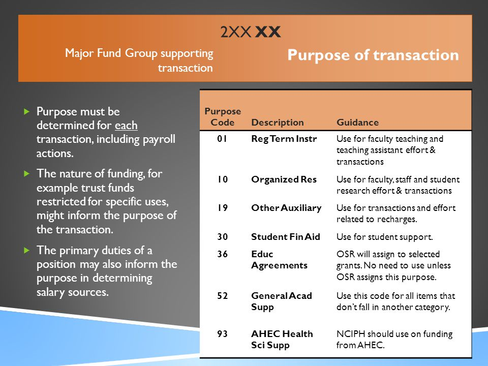  Purpose must be determined for each transaction, including payroll actions.  The nature of funding, for example trust funds restricted for specific