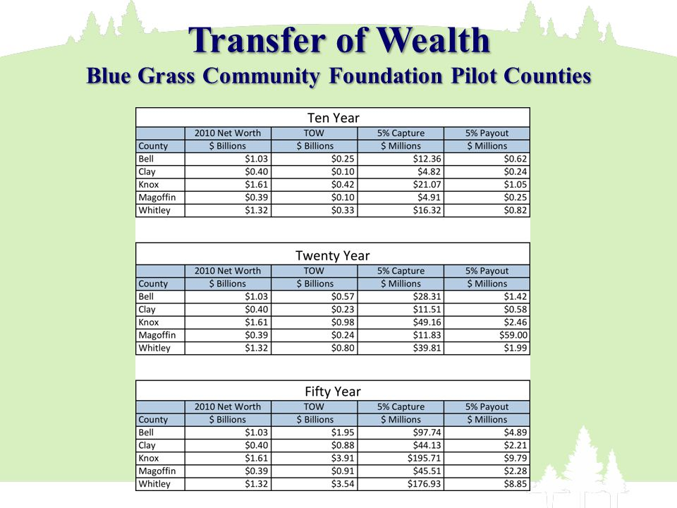 Transfer of Wealth Blue Grass Community Foundation Pilot Counties